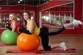 Girls Stretching On Fitballs