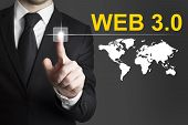Businessman Pushing Button Web 3.0 Internet