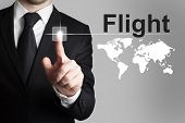 Businessman Pushing Button Flight International