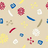 Seamless pattern with elements of native american culture