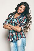 Sexy Woman In Check Shirt And Jeans