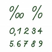 Numbers and signs composed of green coffee beans on white background