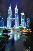 Petronas Twin Tower night scenery Kuala Lumpur