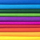 Rolls Of Colored Corrugated Paper Closeup On Background