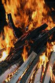 stock photo of flames  - Fire logs in flame - JPG