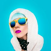 pic of hoodie  - Fashion girl in a white hoodie on a blue background - JPG
