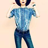Denim Style. Glamorous Lady In Clothing Trend