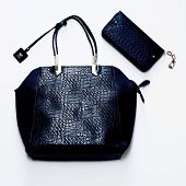 stock photo of crocodile  - Fashion glamorous ladies bag of crocodile skin - JPG
