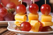 Grapes And Cheese On Skewers Macro Horizontal