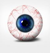 3D Eye Of Man On White Background.