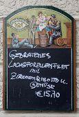 VIENNA, AUSTRIA - OCTOBER 10: Restaurant menu in German - outdoor bar in Vienna, Austria on October 10, 2014.