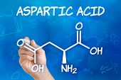 Hand with pen drawing the chemical formula of aspartic acid