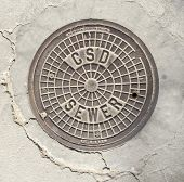 Manhole cover in Beverly Hills, CA.