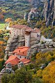 Roussanou Monastery And Meteora Rocks In Greece