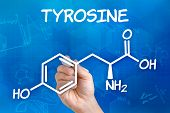 Hand with pen drawing the chemical formula of tyrosine
