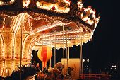 Beautiful Bright Carousel At Dark Night