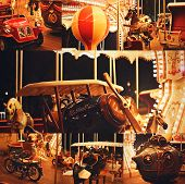 Collage Of Beautiful Retro Carousel With Plane
