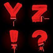 Alphabet letters from roller brush track