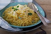 image of spaghetti  - Spaghetti squash with herbs and parmesan top view - JPG