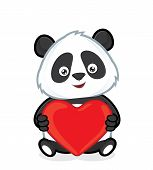 Panda holding heart love