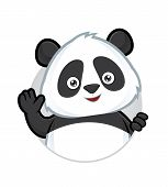 foto of panda  - Clipart picture of a panda cartoon character waving - JPG