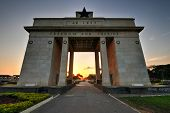 "image of saharan  - The Independence Arch of Independence Square of Accra Ghana at sunset. Inscribed with the words ""Freedom and Justice AD 1957"" commemorates the independence of Ghana a first for Sub Saharan Africa.