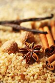 Christmas spices and baking ingredients, close-up