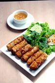 Spring rolls and vegetables