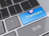 3D English Translation Button On Computer Keyboard. Translating Concept.