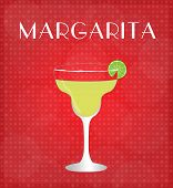 stock photo of mezcal  - Drinks List Margarita with Red Background EPS10 - JPG