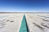 image of salt mine  - Salt water pool on the Salinas Grandes salt flats in Jujuy province northern Argentina - JPG