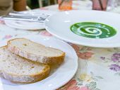 Spinash Cream Soup And  Two Breads