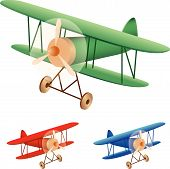 stock photo of biplane  - Vector illustration set of old biplane on white background - JPG