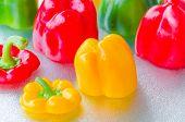 Detail Yellow, Red, Green Bell Pepper