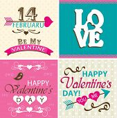 Valentines day cards with ornaments, vector illustration