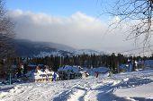 Mountain-skier resort.