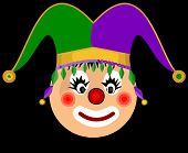 stock photo of jestering  - children vector image of the head clown jester in a cap - JPG