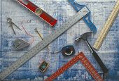 tools on a blue print