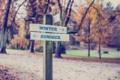 Arrows Pointing Two Opposite Directions Towards Winter And Summer
