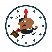 African American Hurried Manager Running In A Clock Modern Flat Design
