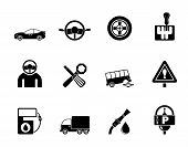 Silhouette car services and transportation icons