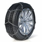 Winter Tire With Snow Chain Isolated On White Background
