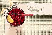 Dessert With Woodland Cherry. Vintage/retro Style.