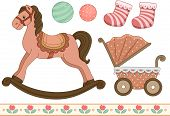 Vintage Style Illustration of Different Elements Typically Associated With Babies