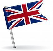 British pin icon flag. Vector illustration