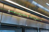 DUBAI - OCT 15: Dubai subway interior on October 15, 2014. The Dubai Metro is a driverless, fully automated metro rail network in the United Arab Emirates city of Dubai