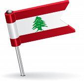 Lebanese pin icon flag. Vector illustration