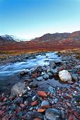 Mountain River, Stones, Sunset