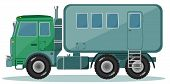 Truck with Trailer to Transport People, Vector illustration