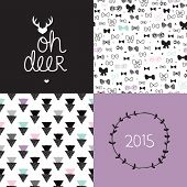 Sweet deer black and white postcard 2015 cover design and geometric hipster bow seamless background pattern set in vector